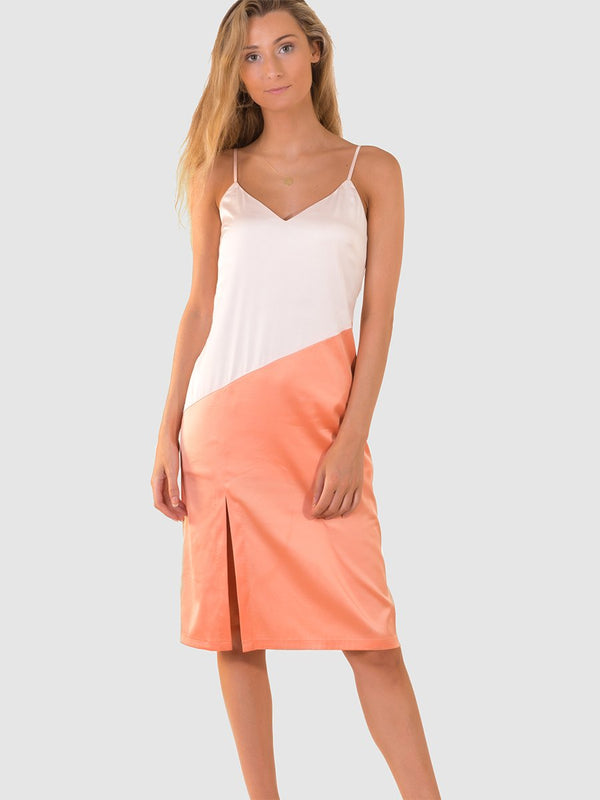 Satin slip dress in pinky-white and orange colourblock