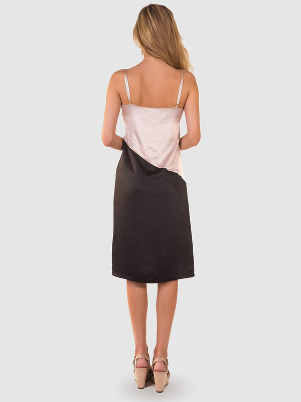 Satin slip dress in Nude and black colourblock - back