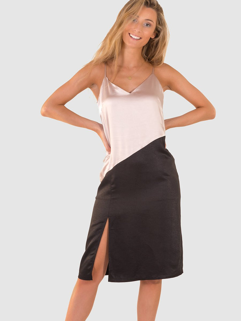 Satin slip dress in Nude and black colourblock
