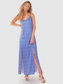 Maxi dress in a vibrant blue floral with 2 long leg splits