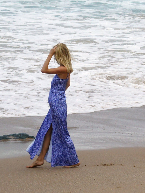 Maxi dress in blue floral with 2 long leg splits