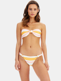 Knot bandeau bikini top and Knot bikini bottoms in Sunset stripe