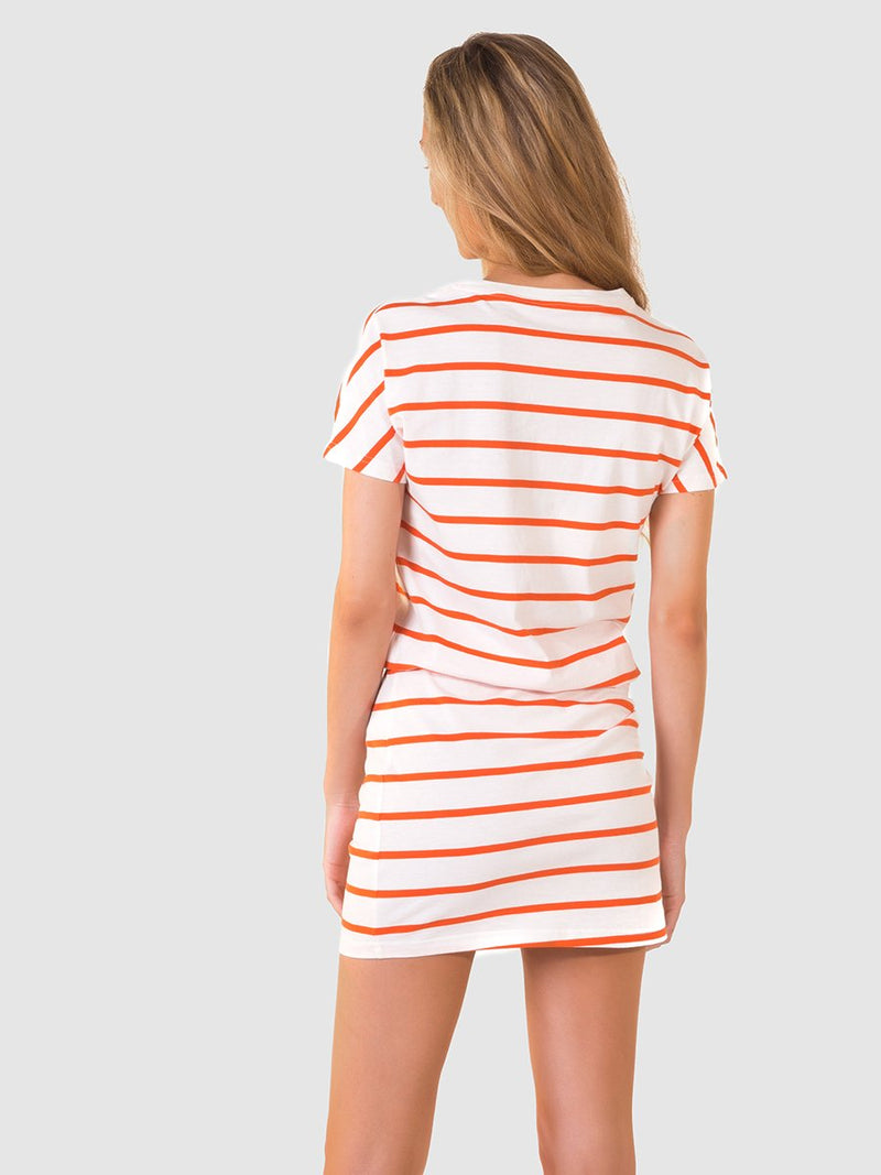 T-shirt dress in orange stripe - back