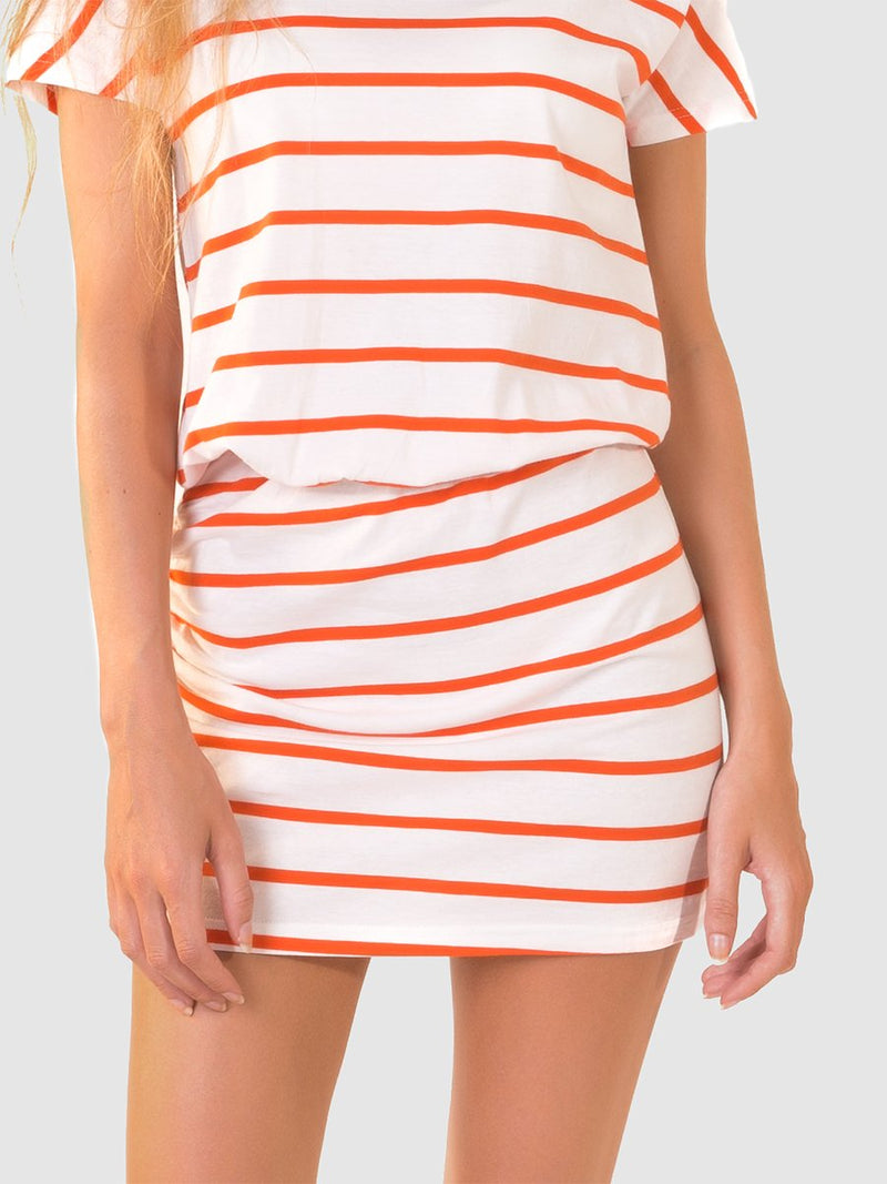 T-shirt dress in orange stripe ruched skirt, elasticated waist