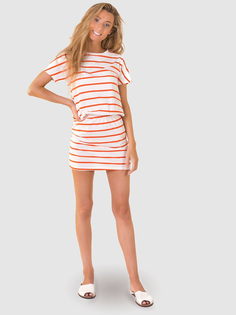 T-shirt dress in orange stripe