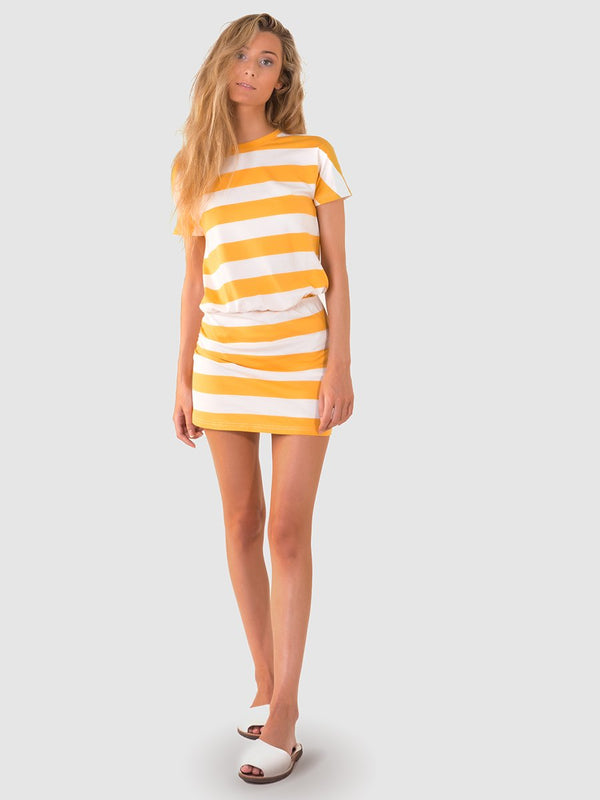 T-shirt dress in a chunky yellow stripe