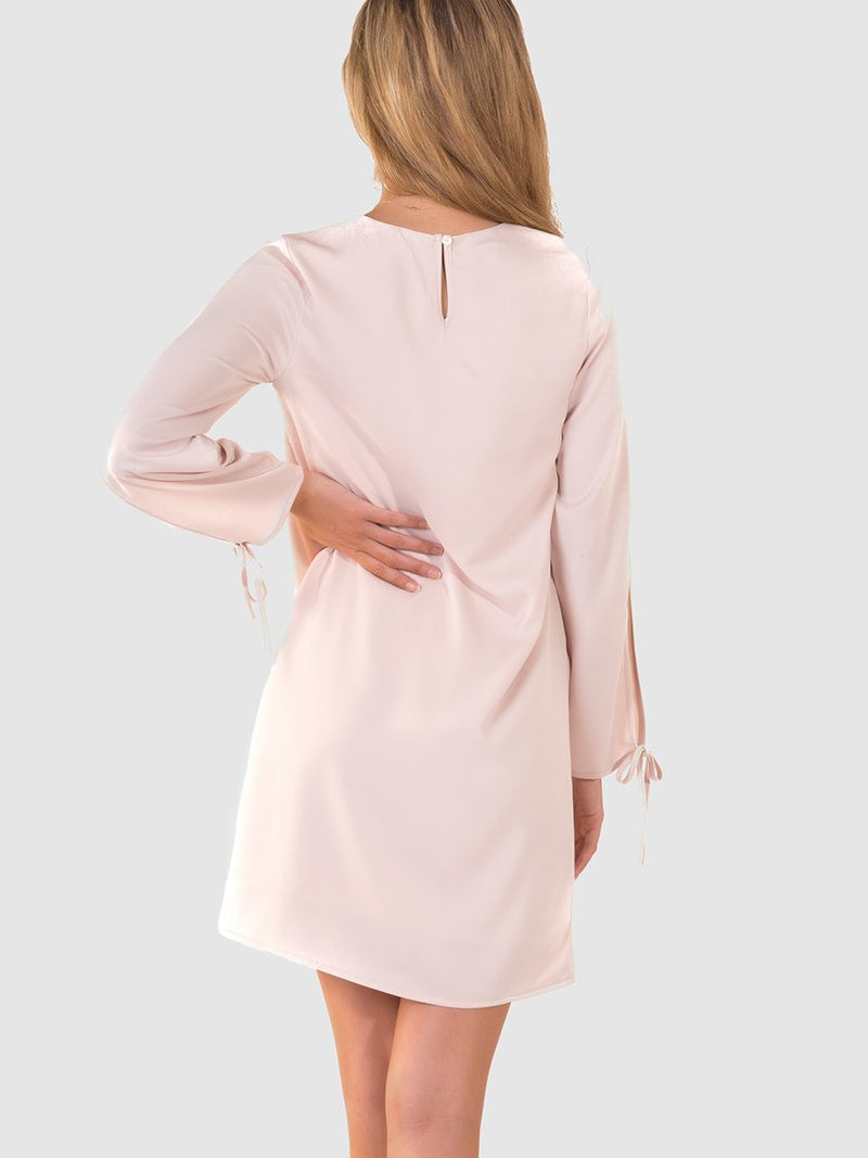 Tie sleeve dress in Pearl - back