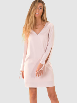 Tie sleeve dress in Pearl