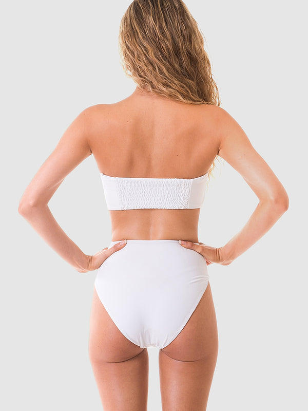 Bandeau bikini top in White recycled fabric with shirred back section