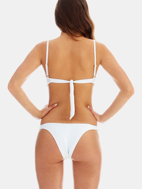 Cheeky high leg bikini bottoms in White ribbed fabric