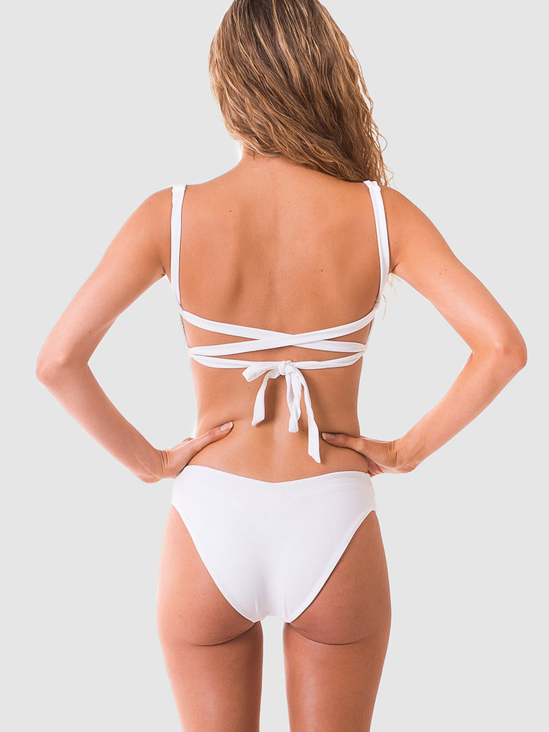 Scrunch bikini top with lace up back in White recycled fabric