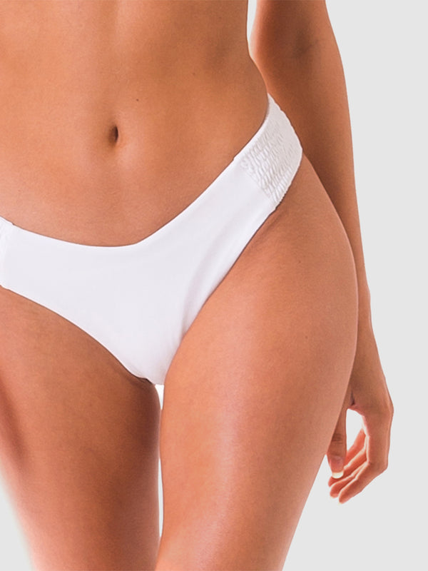 Scrunch bikini bottoms with shirred side panel in White recycled fabric