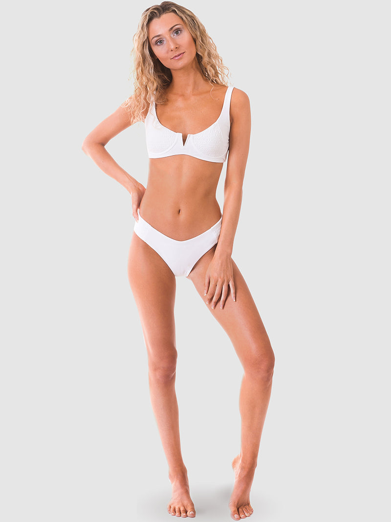 Scrunch bikini top with shirred panel in White recycled fabric