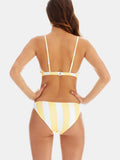 Low riser bikini bottoms in Yellow wide stripe