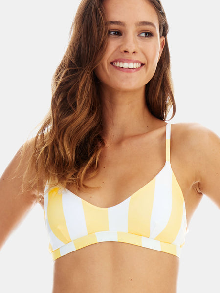 Scoop bralette bikini top in Yellow wide stripe