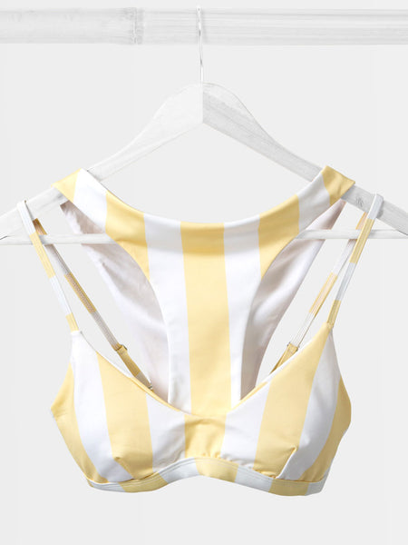 Yellow wide stripe bikini hanger