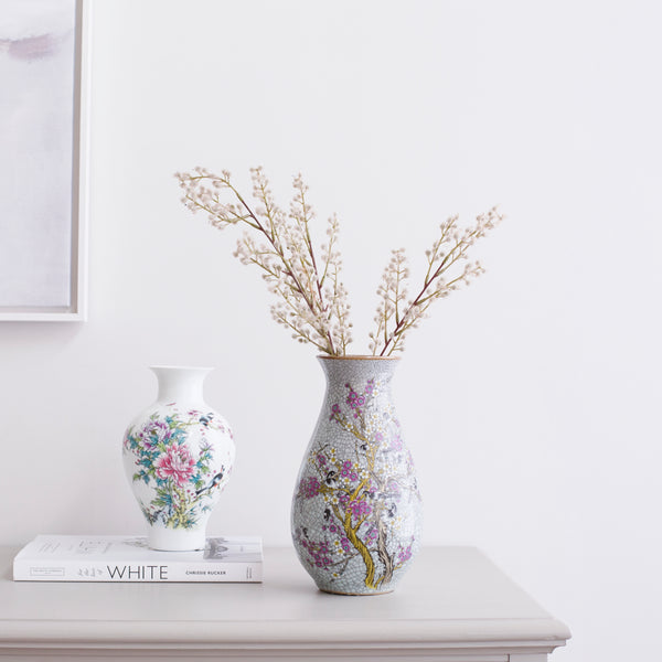 Oriental White and Pink Vase