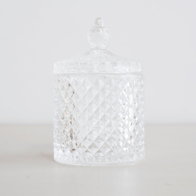 Crystal Cut Design Glass Jar