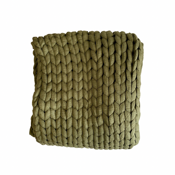 Chunky Knit Throw -Olive