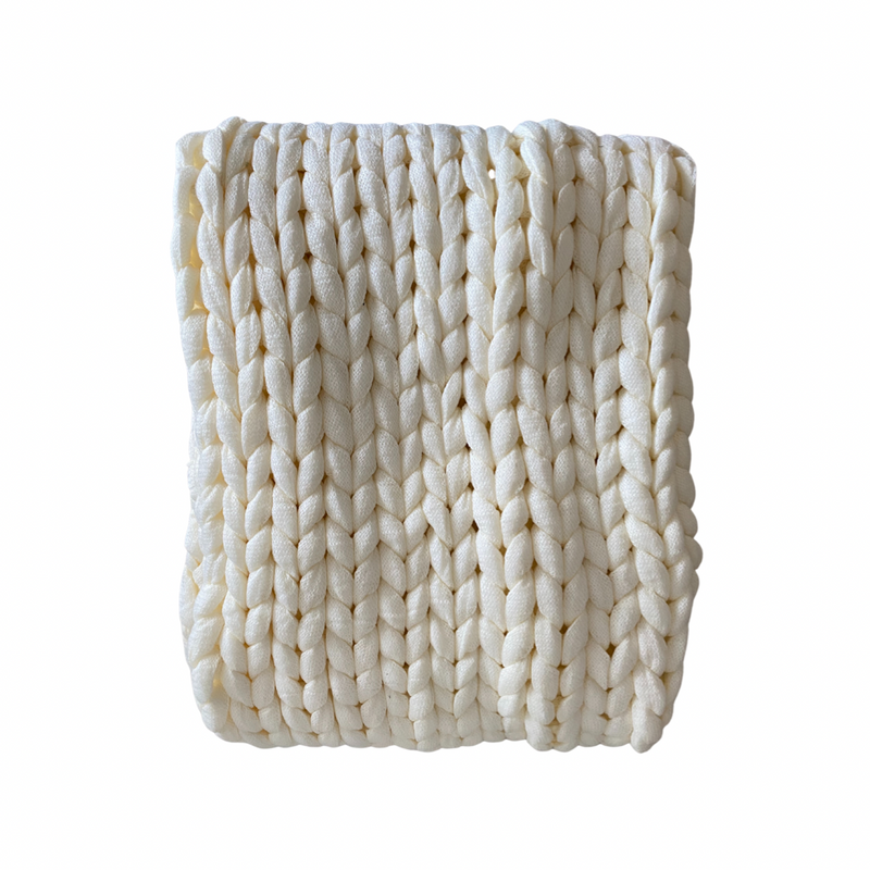 Cream Chunky Knit Throw