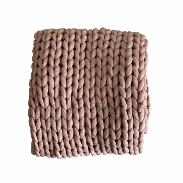 Dusty Rose Chunky Knit Throw