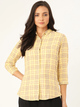 Women Yellow & Maroon Slim Fit Checked Formal Shirt