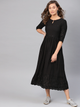 Women Black Embroidered A-Line Dress