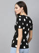 Women Black Polka Dot Print V-Neck T-shirt