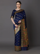 Navy Blue & Gold-Toned Silk Blend Woven Design Banarasi Saree