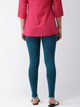 Women Teal Blue Solid Ankle Length Leggings