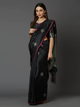 Black & Silver-Toned Silk Blend Woven Design Banarasi Saree
