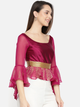 Women Pink & Gold-Coloured Printed Peplum Top