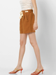 Women Camel Brown Solid Regular Fit Pleated Regular Shorts