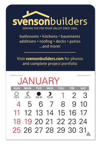 Mini sticky back calendar for promoting your business