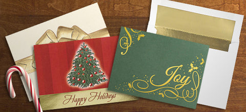 Business Christmas Card Designs in Ivory, Red, and Green