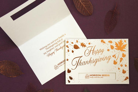 Thanksgiving greeting cards with company logo
