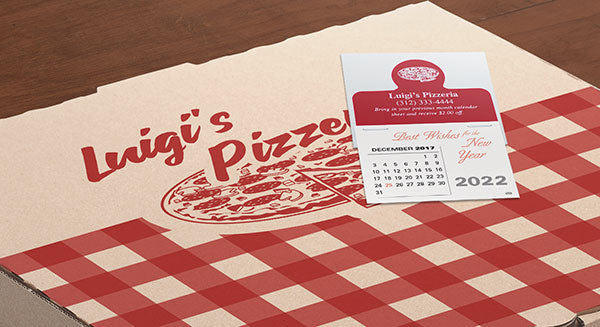 Mini sticky promotional calendars for restaurants and food delivery services