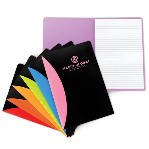 Colorful padfolios with school logo