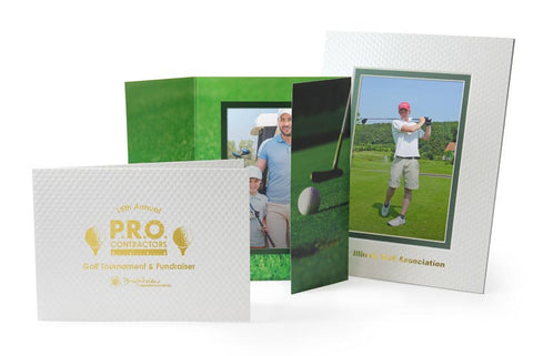 Golf photo folders and golf tournament picture frames