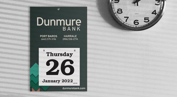 Daily Date wall calendar with bank logo and branding