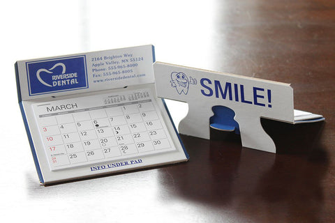 Dentist reception reference calendar with logo