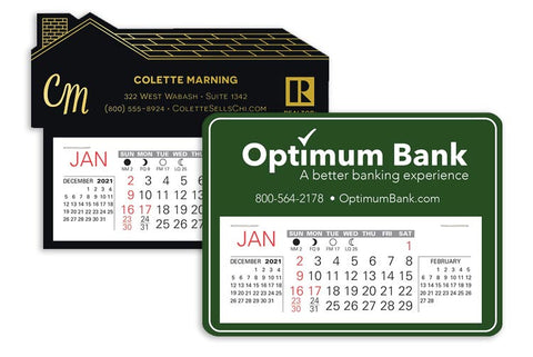 Small adhesive back promotional calendars with logo