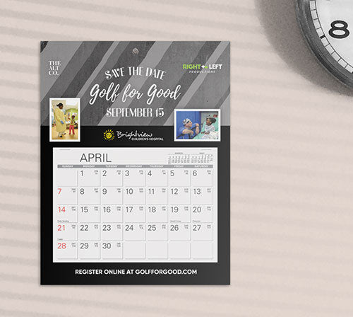 Custom save the date calendar for golf tournaments and events