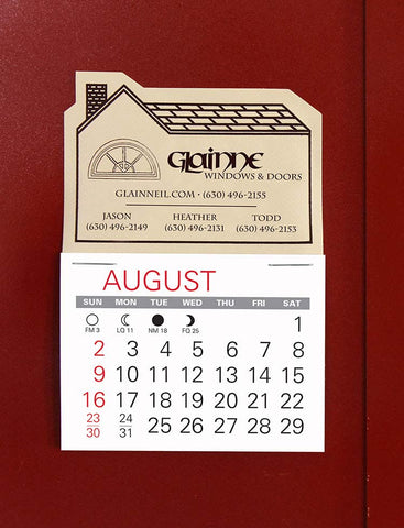 Mini sticky-back calendars with contractor logo