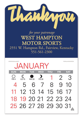 Small peel and stick calendar with company logo