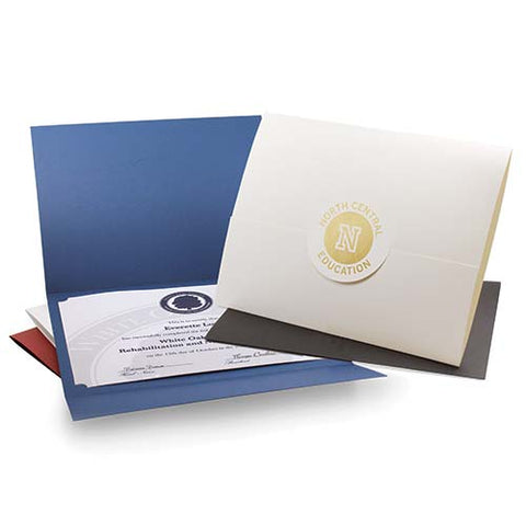 Envelope-style certificate folders made out of recycled paper