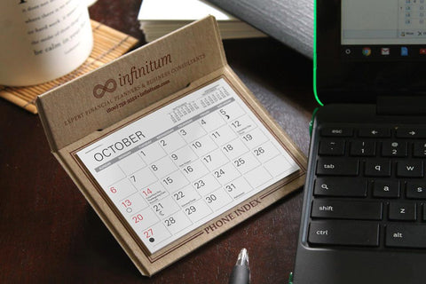 Recycled promotional desk calendar with company logo