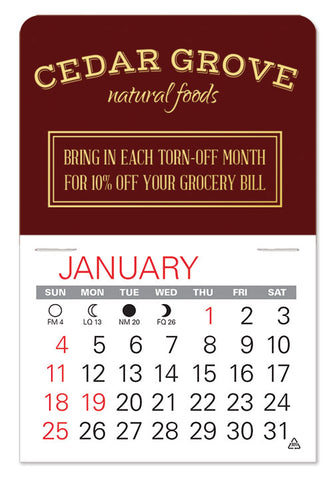 Small promotional calendar with company logo