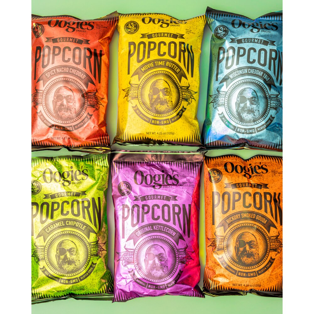All of Oogie's gourmet popcorn flavors