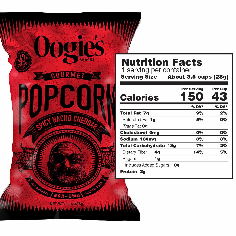Spicy Nacho Cheddar Oogies popcorn snack size ingredients